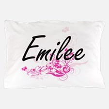 Emilee Artistic Name Design with Flowe Pillow Case