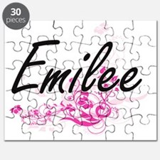 Emilee Artistic Name Design with Flowers Puzzle