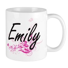 Emily Artistic Name Design with Flowers Mugs