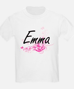 Emma Artistic Name Design with Flowers T-Shirt