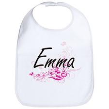 Emma Artistic Name Design with Flowers Bib