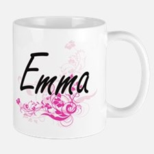 Emma Artistic Name Design with Flowers Mugs