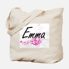 Emma Artistic Name Design with Flowers Tote Bag