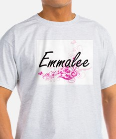 Emmalee Artistic Name Design with Flowers T-Shirt
