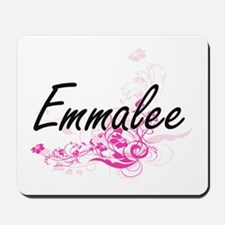 Emmalee Artistic Name Design with Flower Mousepad