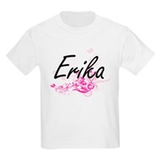 Erika Artistic Name Design with Flowers T-Shirt