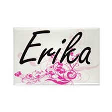 Erika Artistic Name Design with Flowers Magnets