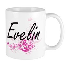 Evelin Artistic Name Design with Flower Mugs