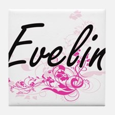 Evelin Artistic Name Design with Flow Tile Coaster
