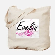 Evelin Artistic Name Design with Flowers Tote Bag