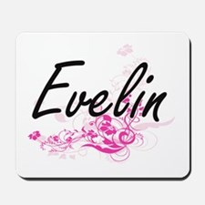 Evelin Artistic Name Design with Flowers Mousepad