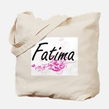 Fatima Artistic Name Design with Flowers Tote Bag