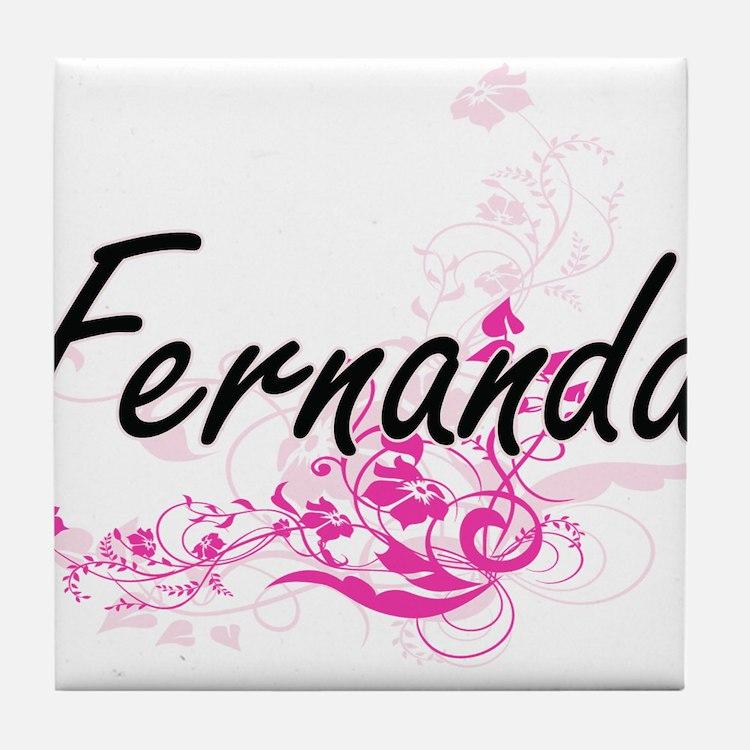 Fernanda Artistic Name Design with Fl Tile Coaster