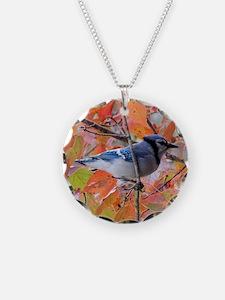 Autumn Blue Jay Necklace