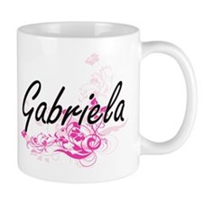Gabriela Artistic Name Design with Flowers Mugs