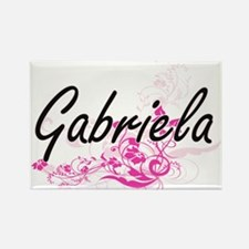 Gabriela Artistic Name Design with Flowers Magnets