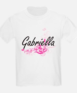 Gabriella Artistic Name Design with Flower T-Shirt