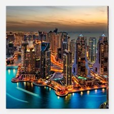 """Dubai Skyline Square Car Magnet 3"""" x 3"""""""
