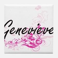 Genevieve Artistic Name Design with F Tile Coaster