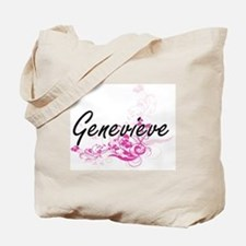 Genevieve Artistic Name Design with Flowe Tote Bag