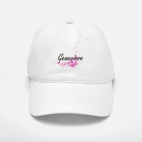Genevieve Artistic Name Design with Flowers Baseball Baseball Cap