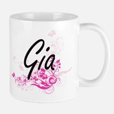 Gia Artistic Name Design with Flowers Mugs
