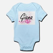 Giana Artistic Name Design with Flowers Body Suit