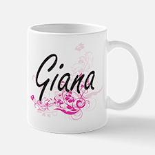 Giana Artistic Name Design with Flowers Mugs