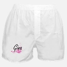 Gina Artistic Name Design with Flower Boxer Shorts