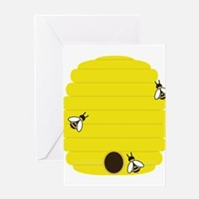 Beehive with 3 busy bees Greeting Cards