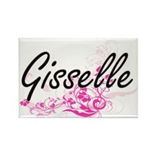 Gisselle Artistic Name Design with Flowers Magnets