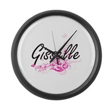 Gisselle Artistic Name Design wit Large Wall Clock