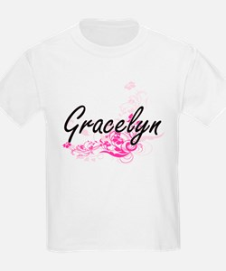 Gracelyn Artistic Name Design with Flowers T-Shirt
