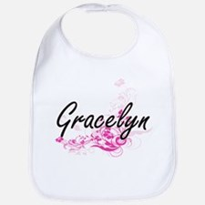 Gracelyn Artistic Name Design with Flowers Bib
