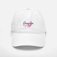 Gracelyn Artistic Name Design with Flowers Baseball Baseball Cap