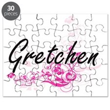 Gretchen Artistic Name Design with Flowers Puzzle