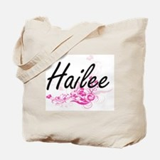 Hailee Artistic Name Design with Flowers Tote Bag