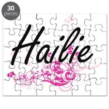 Hailie Artistic Name Design with Flowers Puzzle