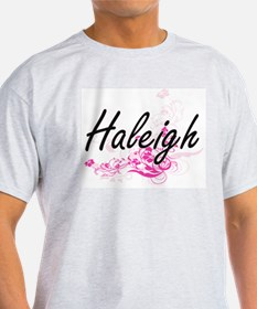 Haleigh Artistic Name Design with Flowers T-Shirt