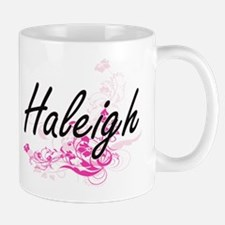 Haleigh Artistic Name Design with Flowe Mugs