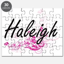 Haleigh Artistic Name Design with Flowers Puzzle