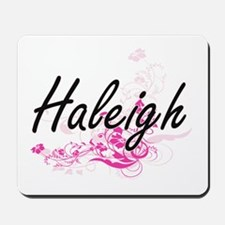 Haleigh Artistic Name Design with Flower Mousepad