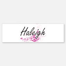 Haleigh Artistic Name Design with F Bumper Bumper Bumper Sticker