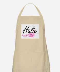 Halie Artistic Name Design with Flowers Apron