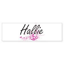 Hallie Artistic Name Design with Fl Bumper Car Sticker
