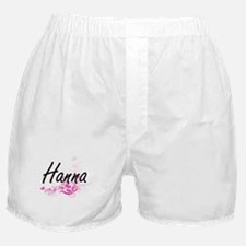 Hanna Artistic Name Design with Flowe Boxer Shorts