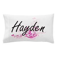 Hayden Artistic Name Design with Flowe Pillow Case