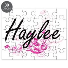 Haylee Artistic Name Design with Flowers Puzzle