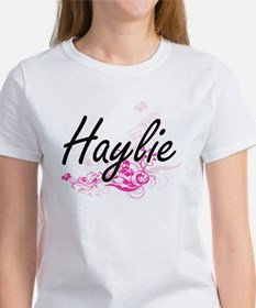 Haylie Artistic Name Design with Flowers T-Shirt