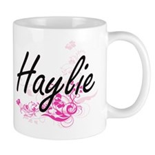 Haylie Artistic Name Design with Flowers Mugs